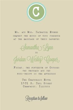 Wedding Invitation - Circle Monogram with Typewriter Font - Invitation and RSVP Card with Envelopes. $2.25, via Etsy.