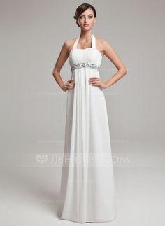 Wedding Dresses - $135.29 - Empire Halter Floor-Length Chiffon Wedding Dress With Ruffle Beadwork Sequins (002012638) http://jjshouse.com/Empire-Halter-Floor-Length-Chiffon-Wedding-Dress-With-Ruffle-Beadwork-Sequins-002012638-g12638