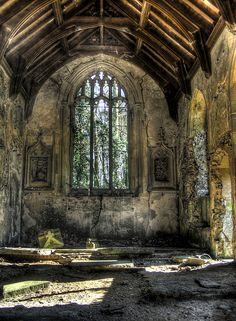 Beautifully abandoned Gothic Chapel. Think of all the souls that might have rested hear. If you become still enough you might still hear their soft voices