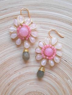 Primrose flower wire wrap dangle drop earrings pink gray