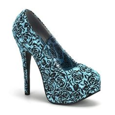 My dream shoes. Blue and Black Ruffled Rose Heels.