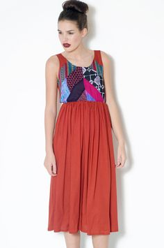 Rust colour patchwork dress | LoelaLoela
