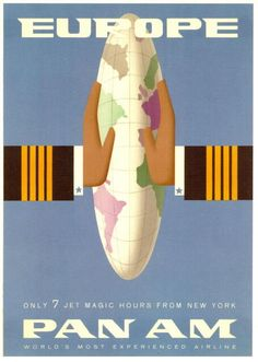 """Europe, only 7 magic jet hours from New York."" Vintage travel poster."