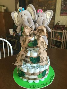 Diaper Cake for Twins with Felt Leaves