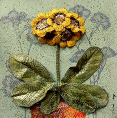 #Auricula #Botanical #TextileArt - 'Yellow Auricula' 3D Embroidered pot plant picture by Corinne Young - www.corinneyoungtextiles.co.uk