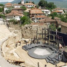 Ancient Theatre - Renewed piece of history in the heart of Ohrid specific architecture. One of the most exiting archaeological finds in Macedonia.  Unforgettable sight expanding toward one of the oldest lakes in Europe, Lake Ohrid. Shrine dedicated at first to Dionysus and the muses of poetry and theater games, and later, a gladiatorial arena for battles.