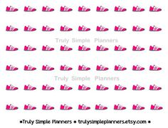 Printable Pink Running Sneakers Stickers for erin condren filofax plum paper planners. instant download weight loss motivation
