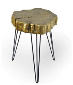 DecMode Rustic Iron and Resin Crosscut Tree Accent Table, Gold Tall Plant Stands, Gold Accent Table, Coffee Area, Tree Table, Rustic Irons, Color Dorado, Cool Chairs, Pink Chairs, Grey Wood