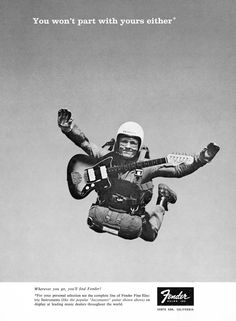 "Robert Perine's famous skydiving Jazzmaster lover Fender ad. ""You won't part with yours either."""