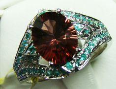 paraiba ring beautiful design 18k white gold 24cts d-13