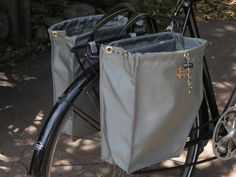 Grey bicycle panniers/bike bags (set of two)