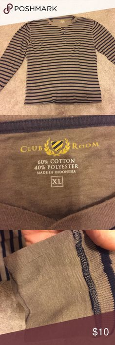 Club Room XL Men's thermal shirt Crew neck. Club Room Men's thermal shirt Crew Neck. XL Long sleeve Brown/black. No stains or rips. Three buttons at neck. Club Room Shirts Casual Button Down Shirts