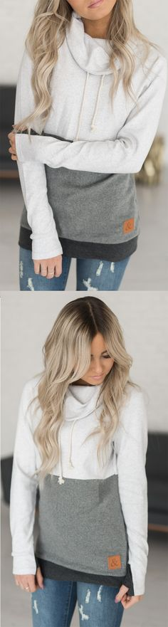 CowlHood Sweatshirt- Colorblock Grey. I am OBSESSED with this sweatshir hoodie. #mindymaesmarket #dreamcloset