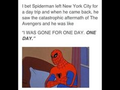 Spiderman's reaction to the avengers