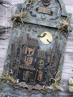 Halloween Shadow Box, Halloween Tags, Halloween Projects, Vintage Halloween, Fall Halloween, Halloween Decorations, Halloween Wreaths, Halloween 2020, Crafts To Do
