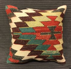 Turkish Boho Pillow. Handmade Pillow. Traditional Pillow. Turkish Kilim Pillow 40 x 40 cm  Boho Pillow. Rug Pillow Cover. Turkish Bedding by TurkishBohoChic on Etsy
