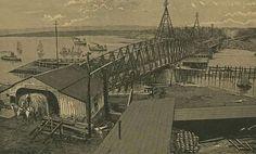 WAGON BRIDGE - 1885 Pekin Illinois, East Peoria, Old Cemeteries, Local History, Paris Skyline, Brewing, Past, Bridge, Owl