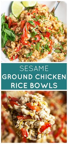 #ad These Sesame Ground Chicken Rice Bowls are healthy and easy to make! This 30-minute meal is full of Asian flavors. They're great for lunch or dinner. Ground chicken is stir fried with garlic, onions, and ginger with bell peppers and Napa cabbage. These gluten free bowls are tossed with a sweet, spicy, and savory sauce. @SpectrumOrganics #rice #bowls #asian #chicken #glutenfree Best Chicken Recipes, Best Dinner Recipes, Turkey Recipes, Asian Recipes, Real Food Recipes, Ethnic Recipes, Duck Recipes, Easy Recipes, Healthy Recipes