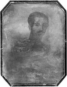 Daguerreotype of King Oscar I of Sweden and Norway in 1844; this is the first known photograph of a Swedish monarch.