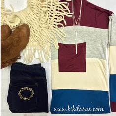 1. Flying Solo Tunic 2. Staple Skinnies 3. Sake To Me Booties 4. Duchess Bracelet 5. Three Drops of Jupiter Necklace 6. Lenore Infinity Scarf