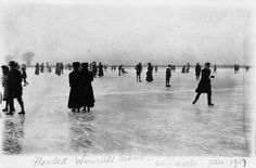 vintageeveryday:    Ice skating at Winnall Moors, Winchester, Hampshire, 1917