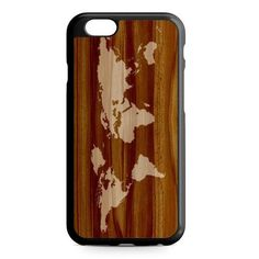 World Map Siluet In Wood iPhone 7