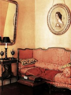 """Damask day bed. """"The Vintage Home"""" by Judith Wilson."""