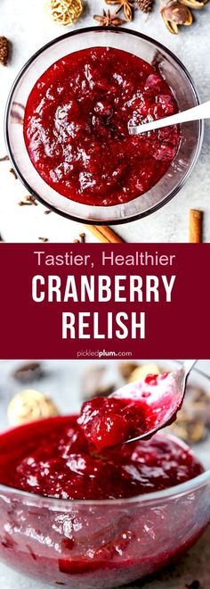 Light Cranberry Relish Tastier, healthier cranberry relish - tarter than sweet, this cranberry sauce is good on just about anything! Wow your guests this holiday season with your own homemade cranberry relish! Thanksgiving Dinner Recipes, Holiday Recipes, Christmas Recipes, Cranberry Recipes, Christmas Appetizers, Cranberry Relish, Easy Asian Recipes, Unique Recipes, Delicious Vegan Recipes