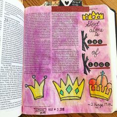 """2 Kings Bible Journaling my paraphrase """"God alon is King of kings"""" 2 Kings 19, King Of Kings, Bible Study Journal, Journal Art, Art Journaling, Bible 2, Illustrated Faith, How To Wake Up Early, Journal Inspiration"""