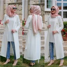 long-white-coat-cute-hijab- Cute and girly hijab clothing