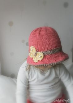 KNITTING PATTERN brim sun hat Mary with a butterfly by MukiCrafts
