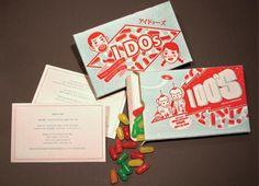I Do's Wedding Invitation Designed by Eric Carver #retro #fun #jellybeans
