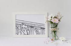 NYC New York Public Library Lion Art Print | NYPL Drawing | NYC Gift | 5x7 or 8x10