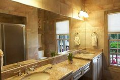 My dream master bath would have two sinks so I don't have to share, marble countertops and have the feel of a spa