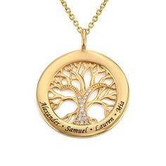 Family Tree Circle Necklace with Cubic Zirconia in Gold Plating Family Tree Necklace, Kids Necklace, Circle Pendant Necklace, Name Necklace, Mother Jewelry, Mom Jewelry, Custom Jewelry, Jewelry Gifts, Engraved Bracelet
