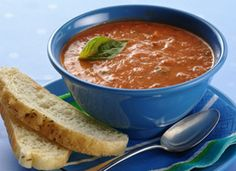 Fire Roasted Tomato Soup @ Betty Crocker: Organic fire roasted tomatoes and a touch of cream make tomato soup extraordinary. Roasted Tomato Soup, Tomato Soup Recipes, Fire Roasted Tomatoes, Recipe Details, My Favorite Food, Favorite Recipes, Soup And Salad, Soups And Stews, Cooking Recipes
