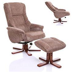 The Shangri La   Chenille Fabric Swivel Recliner Chair In Mink   249