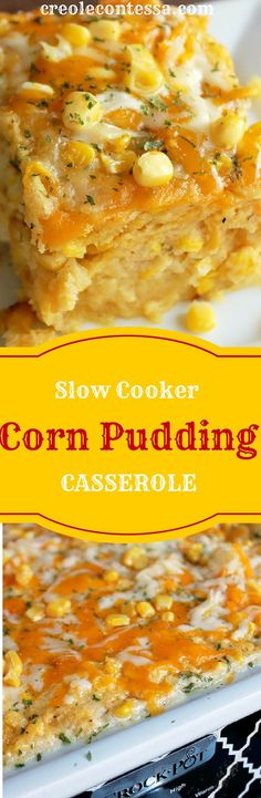 Slow Cooker Cornbread Pudding Casserole-Creole Contessa (Easy enough to veganized). Crock Pot Slow Cooker, Crock Pot Cooking, Slow Cooker Recipes, Cooking Recipes, Corn Pudding Casserole, Cornbread Pudding, Cornbread Casserole, Crockpot Corn Casserole, Corn Crockpot
