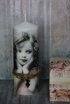 "Beautiful SHABBY CHIC "" Vintage Girl "" Decoupage Handmade Pillar CANDLE"