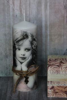 "Beautiful SHABBY CHIC "" Vintage Girl "" Decoupage Handmade Pillar CANDLE"