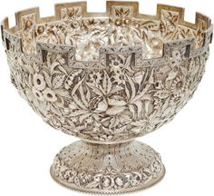 Jefferson Davis: An Exceptional Samuel Kirk & Son Castellated Repousse Coin Silver Bowl Presented to Mrs. Jefferson Davis