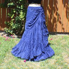 Blue tiered crinkle wrap skirt with crochet waist