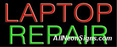 "Laptop Repair Neon Sign-10485  13"" Wide x 32"" Tall x 3"" Deep  110 volt U.L. 2161 transformers  Cool, Quiet, Energy Efficient  Hardware & chain are included  6' Power cord  For indoor use only  1 Year Warranty/electrical components  1 Year Warranty/standard transformers."