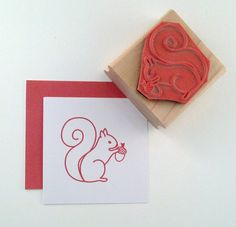 Squirrel Rubber Stamp by cupcaketree on Etsy, $7.50