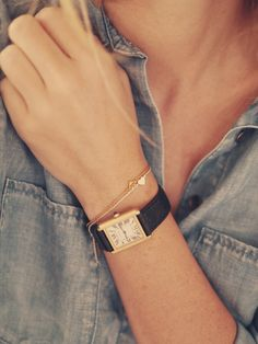 Cartier watch and lovely thin bracelets