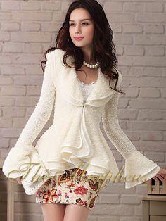 Morpheus Boutique  - Ivory Celebrity Layer Ruffle Long Sleeve Hemline Knitted Jacket, $79.99 (http://www.morpheusboutique.com/ivory-celebrity-layer-ruffle-long-sleeve-hemline-knitted-jacket/)