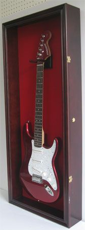 Electric Guitar Display Case Wall Frame Cabinet Box Holds Fender Les Paul more - Ideas of Guitar