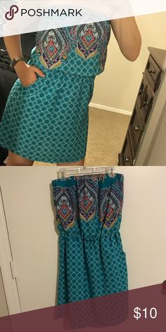 a0b6defc228 Selling this Strapless teal patterned dress on Poshmark! My username is   sksnowden.