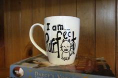 I am purrfect Kitty cat white coffee mug - funny mug, coffee mug, quote mug, painted mugs, breakfast mug, cat mug, gift