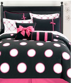 Pink, Black & White with stripes, diamonds, polka dots and bows! Perfect girlie bedding